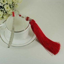 Tassel & Agate Stainless Steel Handmade Bookmark Original Design Silver Fish Ornaments with Beading Fashion Office Accessories