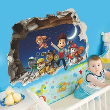 % Paw Patrol Snow Slide Background Removable Wall Stickers Bedroom Home Decorative Waterproof Kids Room Decor Art Decals poster(China)
