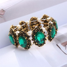 drop shipping no receipt brand Gold color green crystal stone rhinestones Bracelet Bangle jewelry women wedding fashion 1105(China)