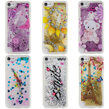 Glitter Star Phone Case For Apple iPod Touch 5 6 Touch5 Touch6 Universal Cover Silicon Cute Cartoon Bear Flower Quicksand Skin