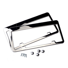 2pcs Stainless Steel License Plate Frame Tag Cover Holder For Auto Truck Vehicles Only For American Canada Car(China)