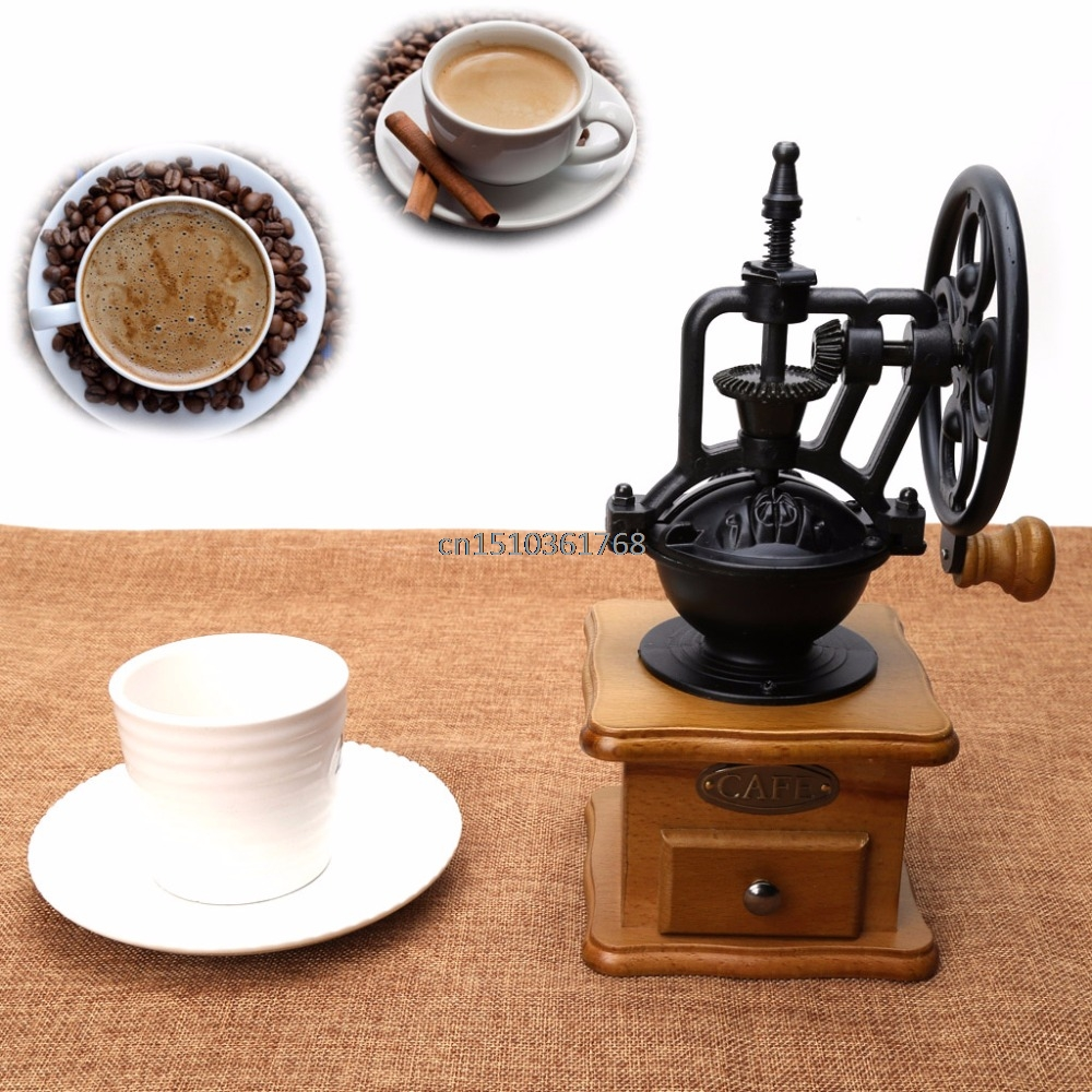 Retro Wooden Manual Coffee Bean Grinder Cast Iron Mill Hand Grinding Home Decor #Y05# #C05#<br>