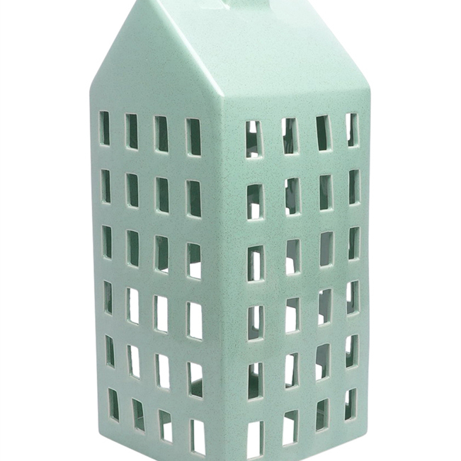 House Shaped Decorative Ceramic Candle Lantern,Blue