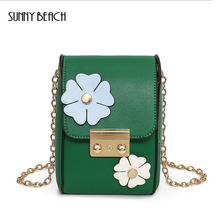 SUNNY BEACH 2017 Fashion Brand Ladies bag Mobile phone bag shoulder PU Leathe  mini lock bag trend wild coin purse