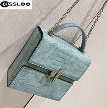 COSSLOO Brand Design Fashion Casual Cow Leather Exquisite Gemstone Lock Women Lady Handbag Shoulder Trunk Flap Bag bolsa feminin(China)