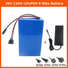 Hot sale 36V 12AH LiFePO4 battery 500W 36V Electric Bike battery with 12S 43.8V 2A charger Free Shipping