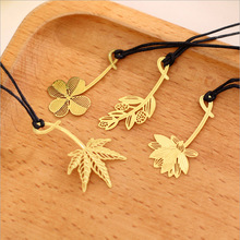 5PCS South Korea metal bookmark stationery elegant fresh flowers Khaled clover creative gift  Mimosa lotus Maple Leaf book marks