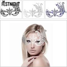 FESTNIGHT Butterfly Mask Cosplay Blue/Black/Sliver Metal Half Mask with Rhinestones Masquerade Ball Halloween Mask Party Decor