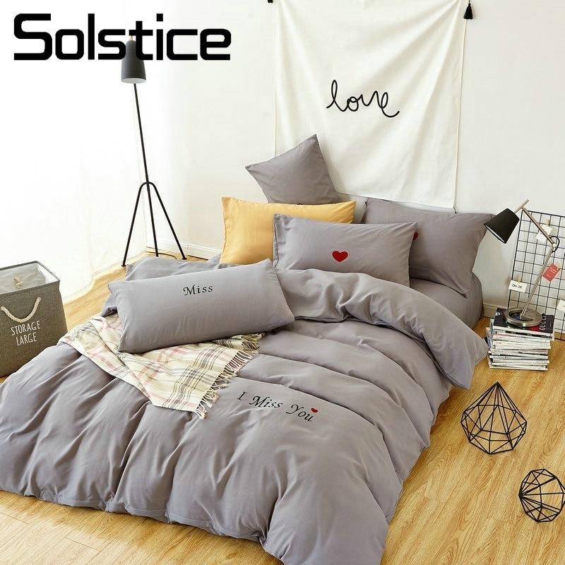 Simple Plain Pure Dark Gray Bedding Set Duvet Cover Comforter Cover PillowCase