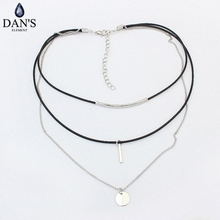 DAN'S New Fashion Retro Geometric star Pendant Collar Double chains leather simple choker necklace gift for women girl 122766(China)