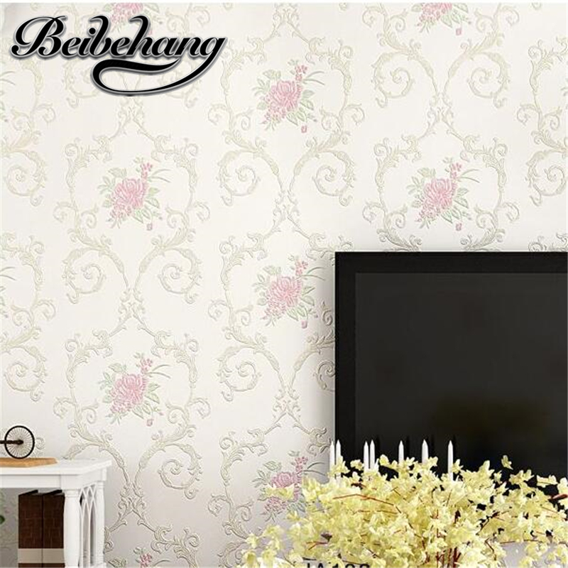 beibehang European 3D non-woven relief relief wallpaper background wall living room thickening pastoral beauty salon wall paper<br>