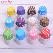 Factory Hot Selling Cheap Cake Tools Polka Dots Design Paper Mini Muffin Cups(China)