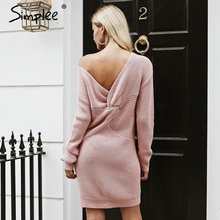 Buy Simplee shoulder knitted sexy dress Back knotted fashion long sleeve women dresses 2018 Autumn winter casual mini dress for $21.99 in AliExpress store