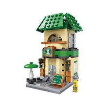 LOZ Single Sale Mini Starbucks Coffee Shop Street View Architecture Assembly DIY Model Building Blocks Toys for Children 1608(China)