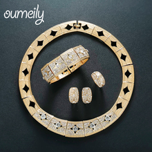 OUMEILY Vintage Jewelry Sets for Women Wedding Dubai Gold Color Imitation Crystal Jewellery Set for Bride Choker Costume Jewelry(China)