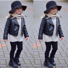 2017 New Fashion Ins Spring and Autumn and the Wind PU Leather Leather Coat Baby Boys and Girls Short Children Jacket(China)