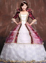 Red Floor-Length Lace Gothic Lolita Dresses,Luxury Medieval Renaissance Civil War Queen Prom Party Dress