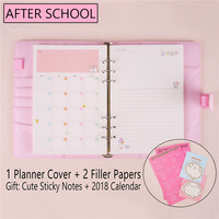 Macaron Notebook A5 A6 Note Book Leather Spiral Binder Planner Kawaii Agenda Notepad Cover With Filler Papers 2018 Sticker