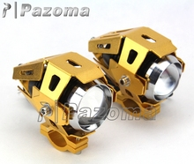1 Pair Gold Motorbike 125W 3000LM U5 LED Headlight Motorcycle ATV Headlights Driving Spotlight Foglight for Yamaha Honda Suzuki