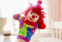 Super cute soft plush circus clown hand puppet toy,stuffed children puppet toy, creative baby education & birthday gift, 1pc