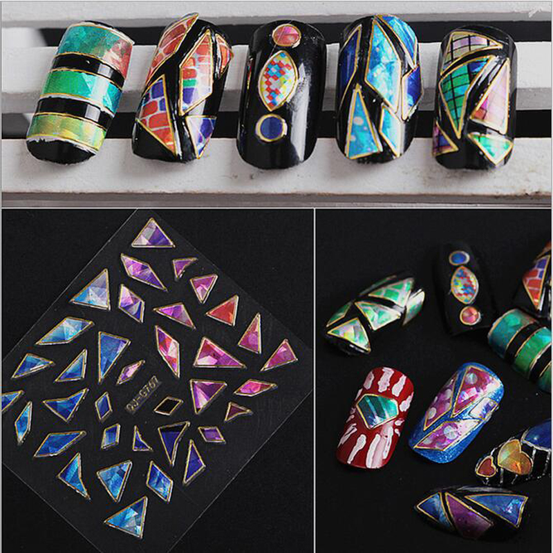 15pcs/lot Shattered Glass 3D Nail Art Stickers DIY Nail Decorations Beauty Decals Glitter Paper Nail Art Supplier Glue Stickers(China (Mainland))