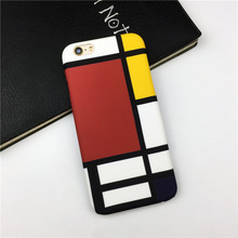 Phone Cases for iPhone 6 6S 7 Plus Mondrian Composition Color Matt Hard PC Case Geometry Joint Romantic Art Back Cover Capa