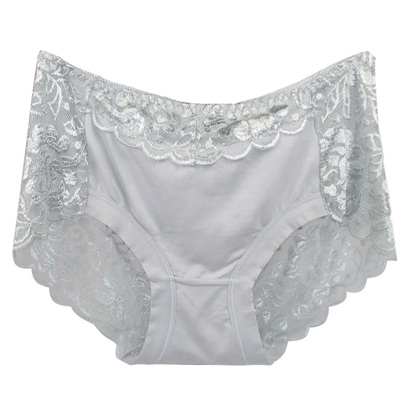 Women's Cotton Underwear, Seamless Briefs, Sexy Panties, Full Transparent Lace 18