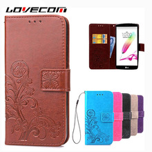 LOVECOM Clover Wallet Phone Case Genuine Leather Card Holder Stand Magnetic Flip Coque For LG G3 G4 G5