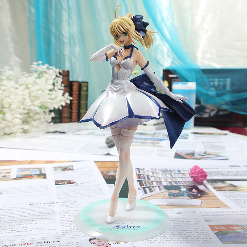 New version ALTER Fate/stay night Saber Lily white dress Fate stay night PVC Action Figure Toy 27CM<br>