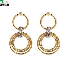 H2017051101  Fashion Style Simple Metal Earrings Multi - Layer Circle Circle Temperament Earrings Women 'S Shopping Jewelry