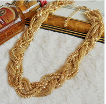High Quality Wholesale 2015 Bohemian Jewelry Fashion Twist Knit Necklace Choker Collar Women Statement Necklaces Pendants