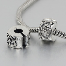 free shipping 1pc silver flower clip heart stopper bead charm Fits European Pandora Charm Bracelets A149
