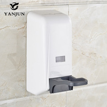 Yanjun 2016 The Newest Way Toggle Soap Dispenser 800ml Wall Mount Bath Shower Accessories Commercial Dispenser White YJ-2519(China)
