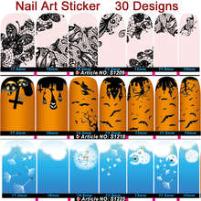 Fashion Nail Art Stickers 2 sheets /Lot Adhesive Full Cover Nail Polish Sticker Wraps ,DIY Nail Patch Art Decoration Tool