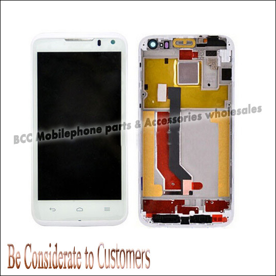 20pcs/lot 100% Original LCD Screen with Touch Screen digitizer panel with Bezel frame for Huawei Ascend D1 U9500 Full Set White<br>