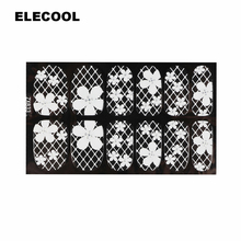 ELECOOL New Nail art decorations Nail Stickers White Lace with diamond stickers 16 styles sex woman make up nails decorations