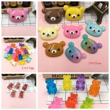 Free Shipping! Resin Kawaii Adorable Bear Head, Resin Flatback Cabochon for Hair Bow Center, Phone Decoration, DIY (38*26mm)