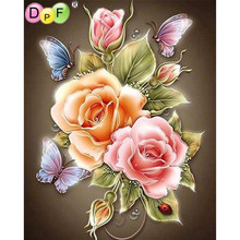 DPF DIY 3D diamond painting square drill full rhinestone home decorative needlework Butterfly Rose diamond mosaic embroidery