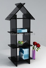 Free Shipping Floor Standing Acrylic bookshelf/bookcase/cabinet for home-KD packed(China)
