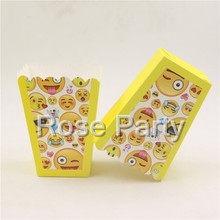 6pc/lot Emoji Popcorn box holder Boy Girl Pop Corn Box baby shower Food Candy Boxes for Party Movie Tableware Decor Supplies
