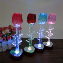 DIY Novelty Craft LED Lighted Rose Flower Crystal Ornament miniatures Home Table Decoration Pokemon Craft Girl Lover Girl Gifts
