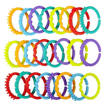 24Pcs Plastic Hook Infant Teether Baby Toys Colorful Rainbow Rings Crib For Stroller Hanging Accessories For Wheelchairs