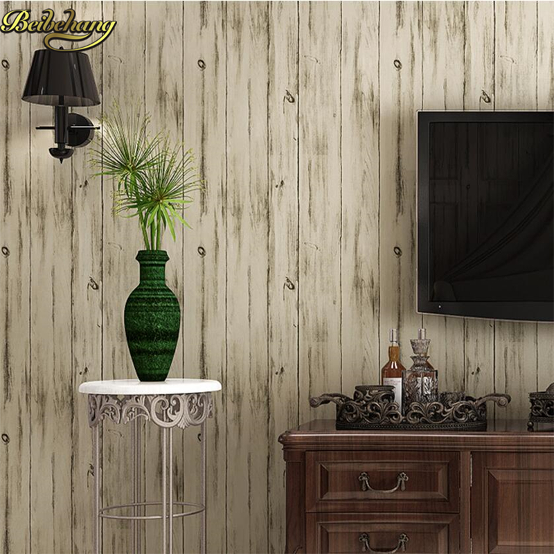 beibehang Nordic Wooden Wallpapers Nostalgic Retro Bedroom Study Room TV Background Walls American Striped papel de parede<br>