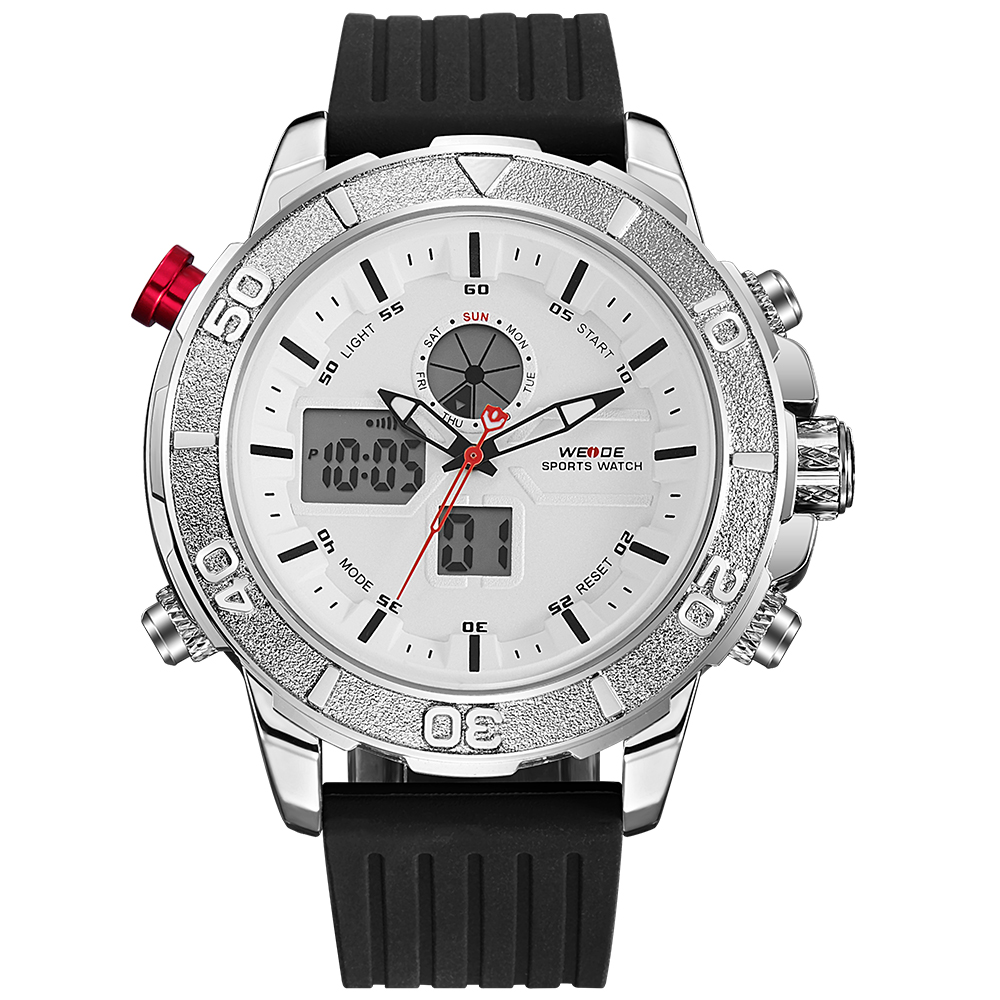 WEIDE Quartz Wristwatches Dial Analog Display Date  Water Resistant Clock Mens Casual Watch Silicone Strap Relogio <br>