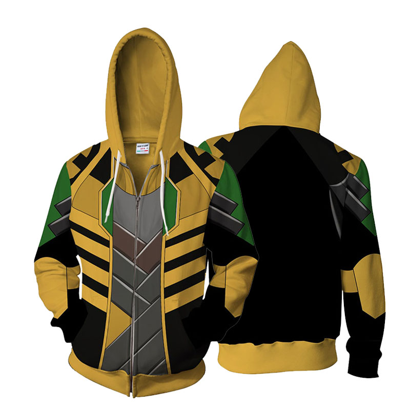 Avengers Infinity War Loki Man Cool Tops Full Zip Hoodie Coat Jacket Sweatshirt