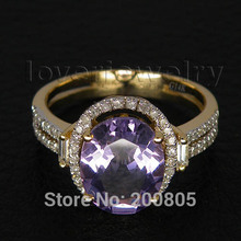 Oval 7x9mm Solid 4.42Ct 14Kt Gold Diamond Purple Amethyst Engagement Wedding Ring