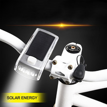 LED Solar Horn Lamp Headlight Bicycle Light USB Charging Lamp Outdoor Riding Equipment Fittings Built-In Lithium Battery Brand