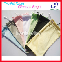 50pcs Free Shipping Quality 100% Polyester 175gsm microfiber Two Pull Ropes 7 Colors Sunglass Eyewear Glass Cloth Bag Pouch(China)