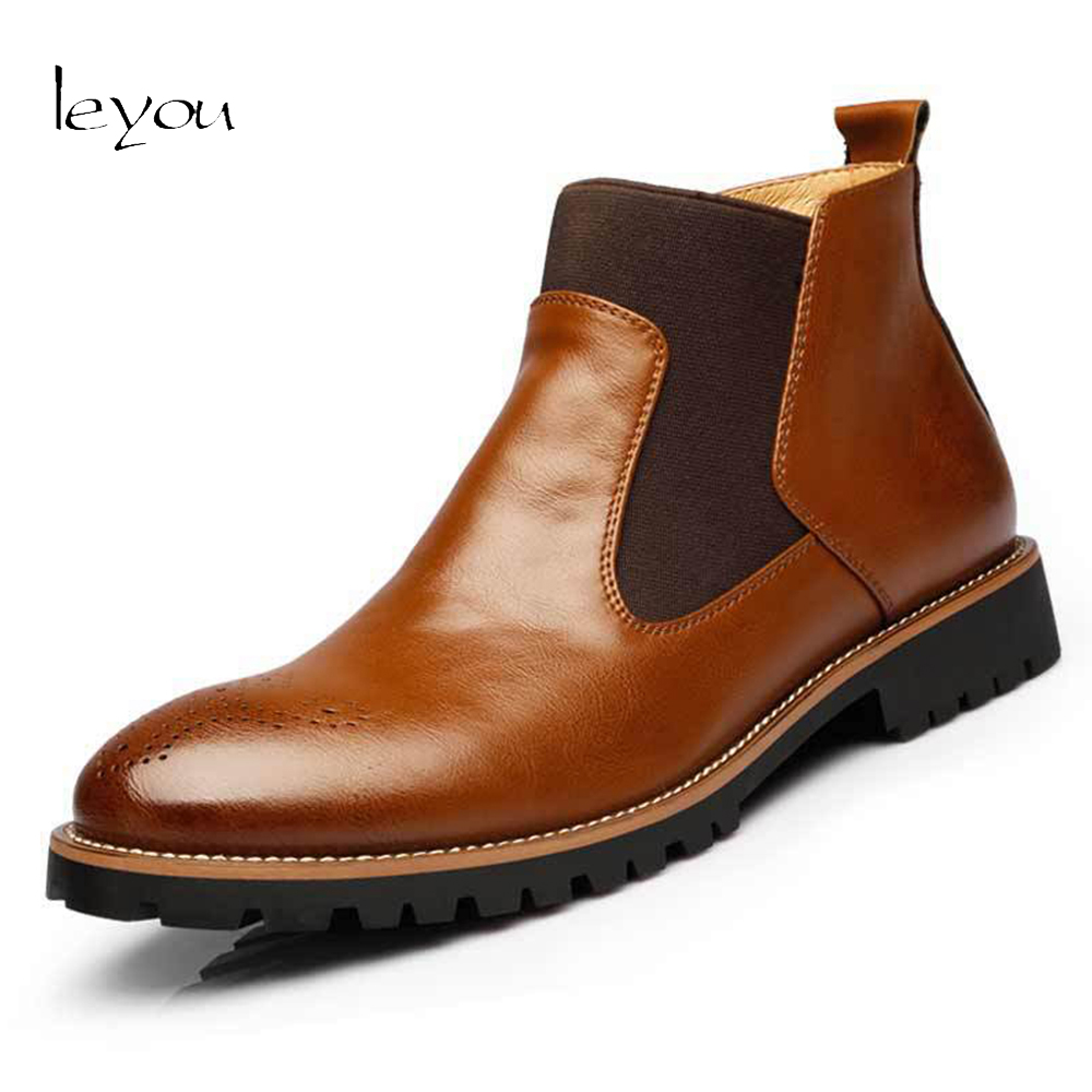 Leyou Mens Chelsea Boots Genuine Leather Shoes Aut...
