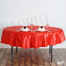 Free Shipping 10pcs Customized 90'' Red Dining Table Cloth Satin Tablecloth for Wedding Party Decoration Restaurant